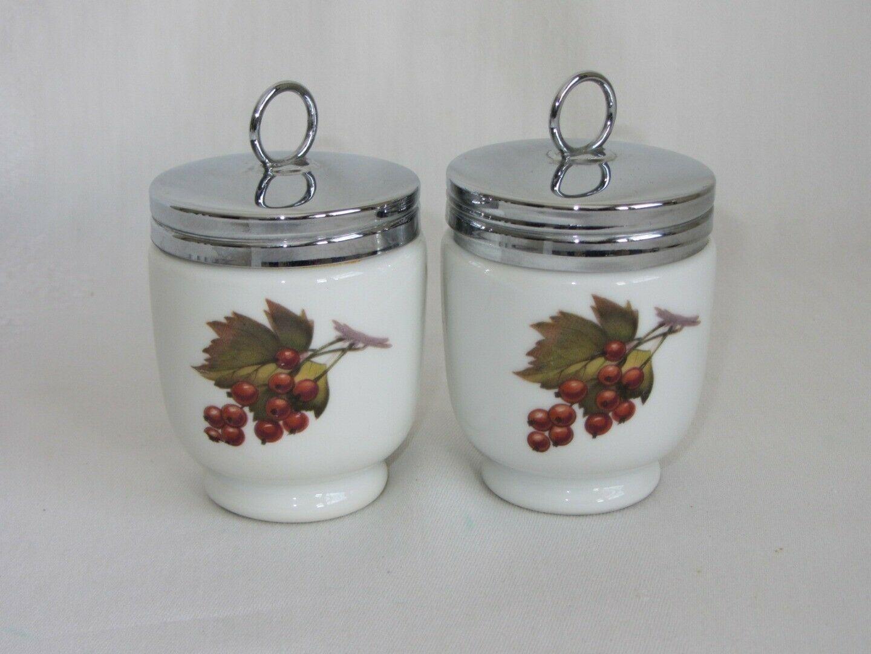 2 Royal Worcester Vtg Evesham Egg Coddler Jar Lid Plum Currants England