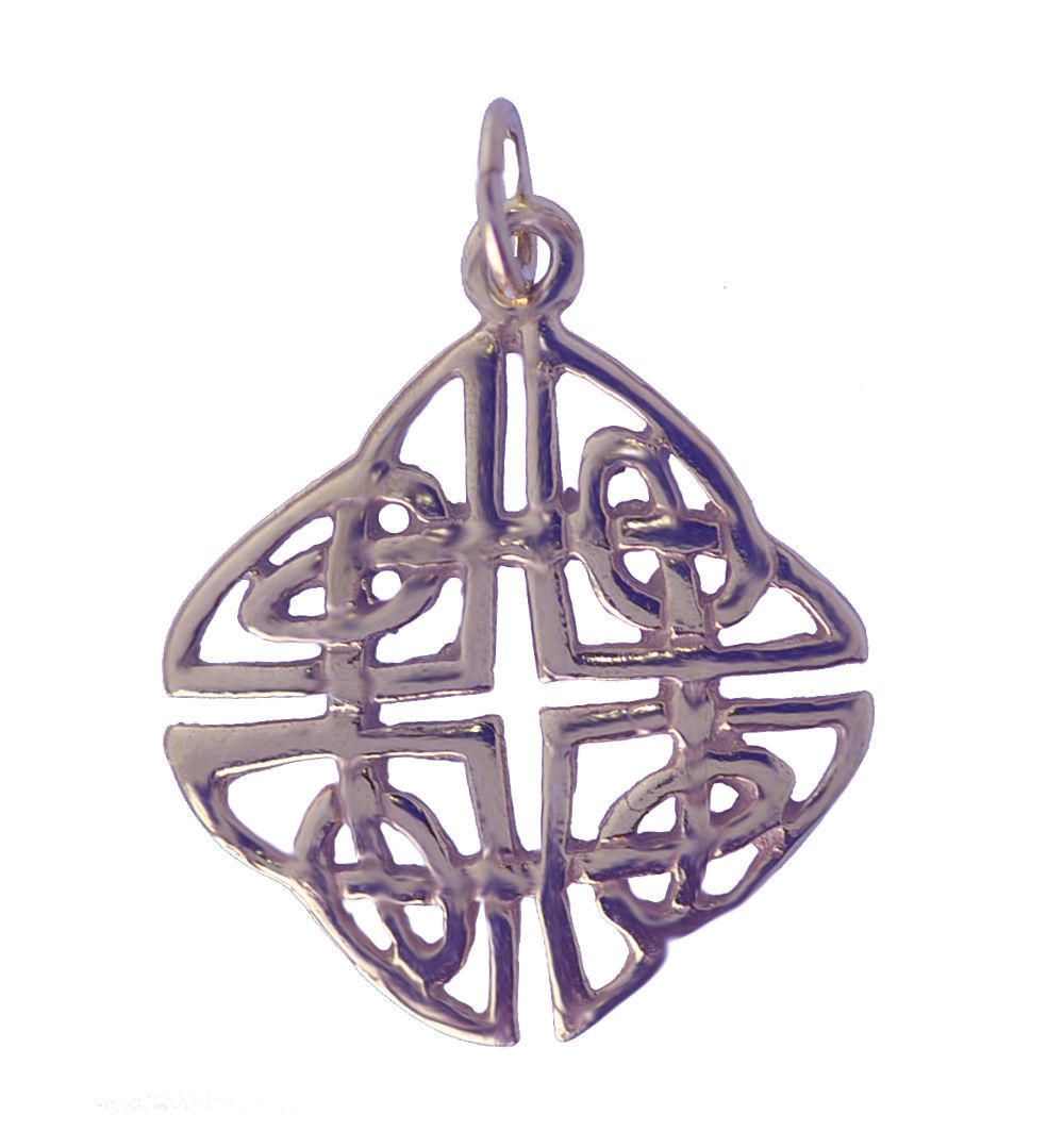 WOW 18K Rose Gold Plated On Real Sterling Silver Celtic Infinity Knot Charm Pend