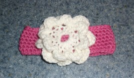 Brand New Crocheted Pink and White Flower Design Dog Collar 4 Dog Rescue... - $10.49
