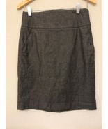 Banana Republic Womens 6 Skirt Gray Pencil Cotton Wool Blend Pockets - $13.85