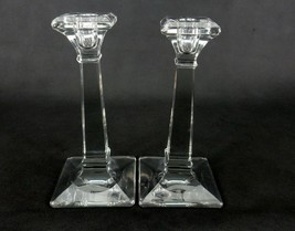 Vintage Candle Holders, Set of 2, Square Columns, Tapered Bases, Beveled... - $24.45