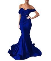 Women's Off the Shoulder Mermaid Evening Dresses Long Spandex Formal Party Gown image 6