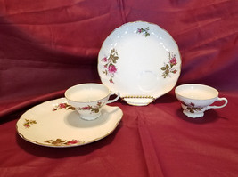 Vtg Moss Rose Snack Set w/ Gold Trim by Lipper and Mann, 10 pieces (circ... - $50.00
