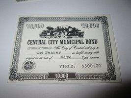 1964 Stocks & Bonds 3M Bookshelf Board Game Piece: Central City $10,000 Bond  - $1.00