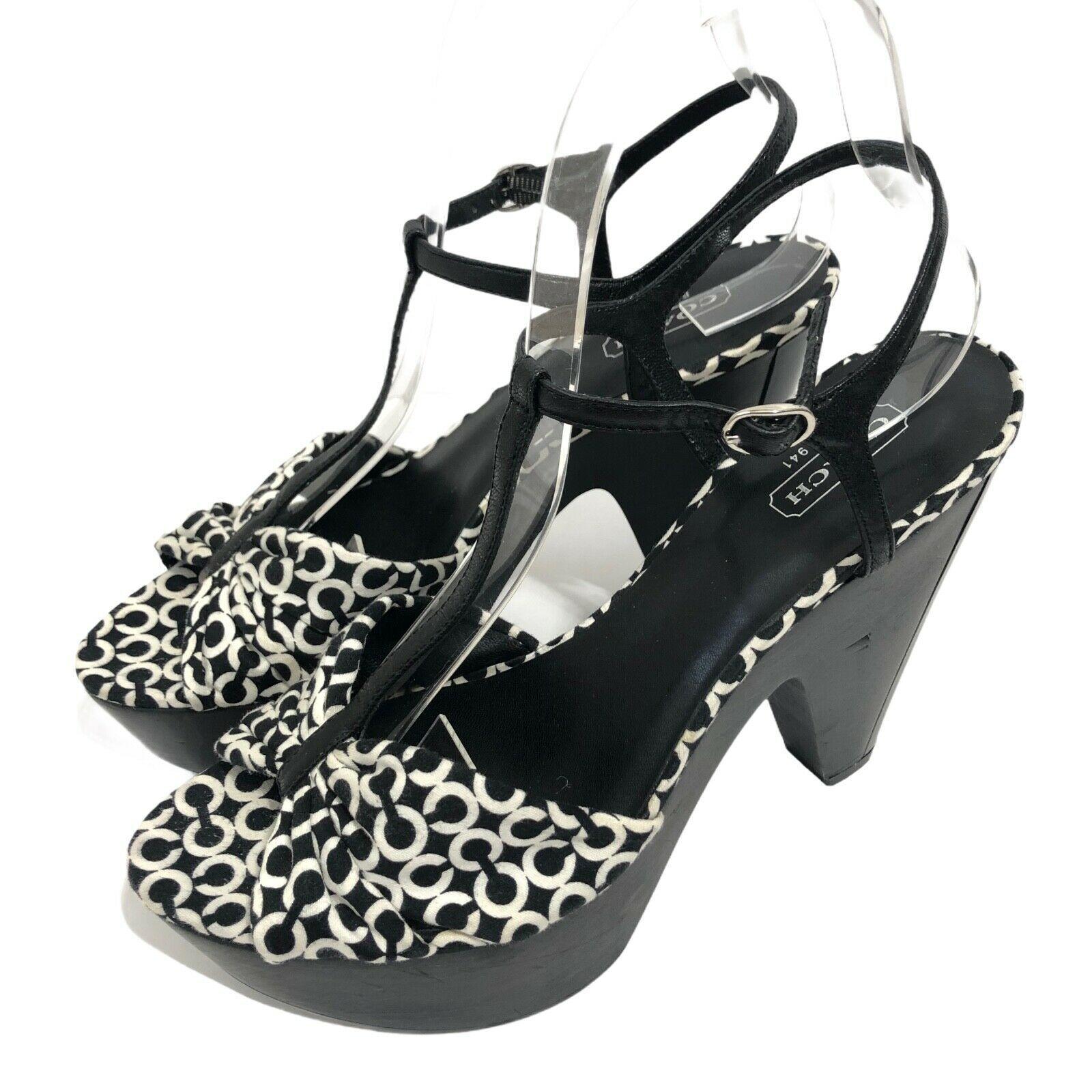 Coach Janeen OP Art Ankle Strap Sandals Platform Heels Womens 7.5 Black & White - $36.75