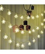 4.8M 20 Solar LEDs Snowflakes String Light Christmas Wedding Garden Deco... - $28.98