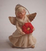 Classic Homco Angel Girl w Red Poinsettia Hanging Christmas Tree Ornamen... - $6.92