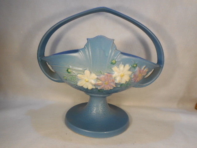 Vintage Roseville Blue Cosmos Handled Basket marked 358-12""