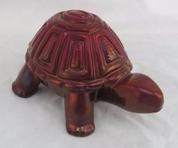 Zsolnay Eosin Large Turtle Tortoise Figurine, Iridescent Deep Red, Hungary - $99.00
