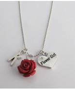 Personalized Flower Girl Necklace with Initial and Resin Rose Charm,Flow... - $13.20