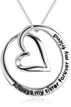 Sterling Silver 'Always My Sister Forever My Friend' Love Heart Pendant... - $85.68
