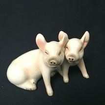 Vintage Gobel Pair Sitting Pigs Piglets Porcelain Germay 32008 - TMK-5, Germany - $47.52