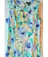 Chaps by Ralph Lauren Sz 8 Keyhole Floral Sateen Watercolor Sheath Dress - $69.99