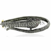 4.50Ct Rose Cut Diamond Ruby Sterling Silver Snake Pave Bracelet BV196 - $551.08
