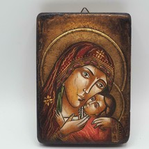 Vintage Icoana Sfintita Mary & Gesù Icon Su Legno Telaio Realizzato IN R... - $64.94