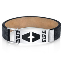 Stainless Steel & Black Leather Greek Key Bracelet - $59.99