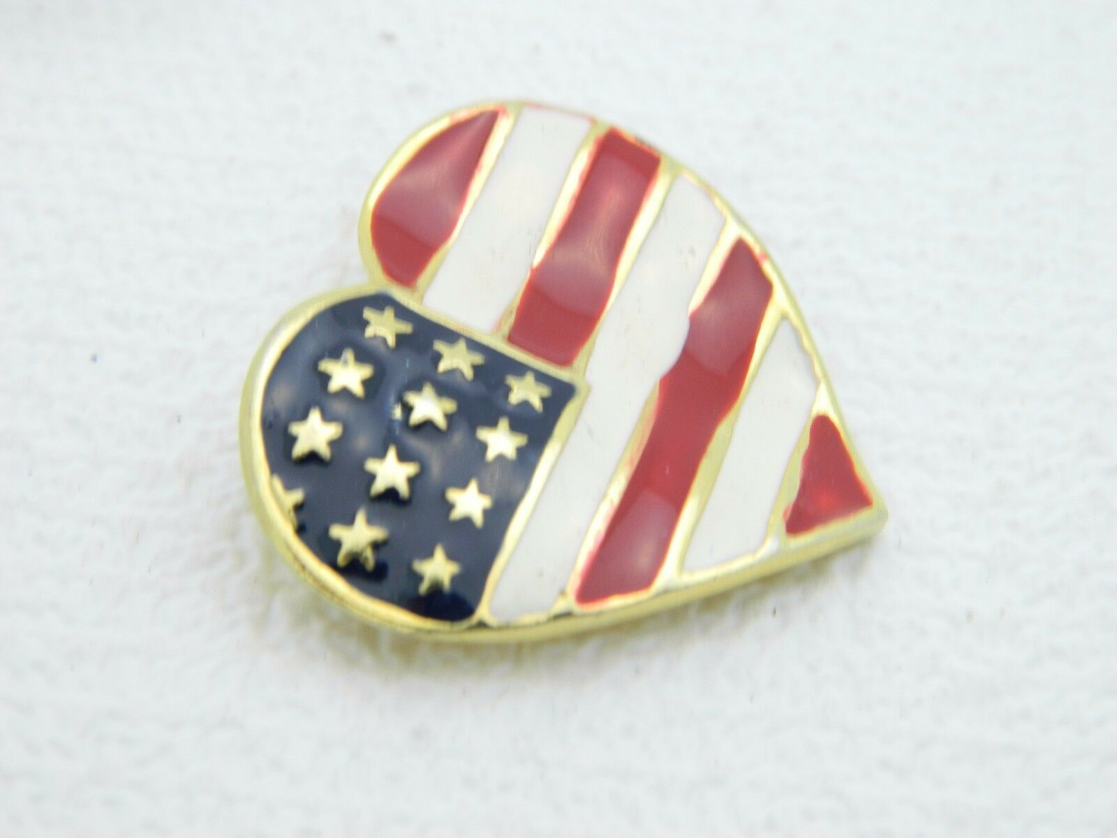 Vintage Gold Tone Enamel Patriotic Heart 4th of July Large Pin Brooch