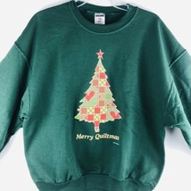 Sweatshirt Christmas Quilt Quilting Merry Quiltmas Jerzees Size Large Gr... - $25.25