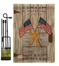 Home of the Free Burlap - Impressions Decorative Metal Garden Pole Flag ... - $33.97