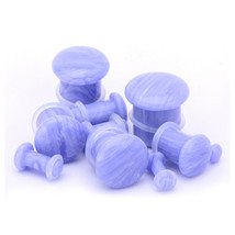 PAIR-Stone Agate Blue Lace Single Flare Ear Plugs 10mm/00 Gauge Body Jew... - $10.99