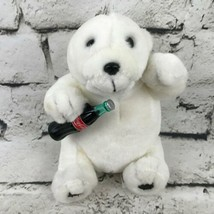 Coca-Cola Polar Bear Teddy Bear Plush White Sitting Drinking A Coke Stuffed Toy - $7.91