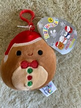 NEW Squishmallow Red Brown Gingerbread Holiday Fleece Toy Keychain Backp... - $8.33
