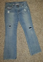 Womens AE American Eagle Blue Embellished Distressed Hipster Denim Jeans... - $24.75