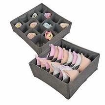 Polecasa Set of 2 Linen Large Bra Underwear Organizer Box Drawer Storage... - $18.09