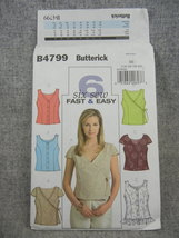 Tops with Neckline and front variation Butterick B4799 Misses 14 16 18 2... - $8.00