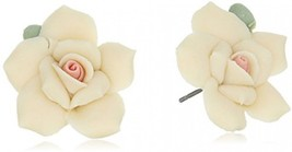 1928 Jewelry Classic Ivory Color Porcelain Rose Post Stud Earrings - $40.45