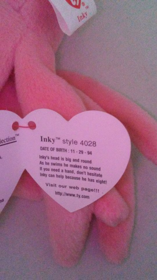 TY Beanie Babies Inky Octopus PVC PELLETS Style # RARE ERRORS Retired image 4