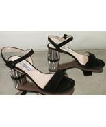 PRADA Black Suede Ankle Strap Sandals w/ Scalloped Block Silver Heel - S... - $399.99