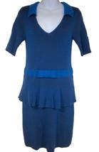 Nanette Lepore The Empress Dress sz L Cyan/Mulberry sweater knit peplum ... - $199.89 CAD