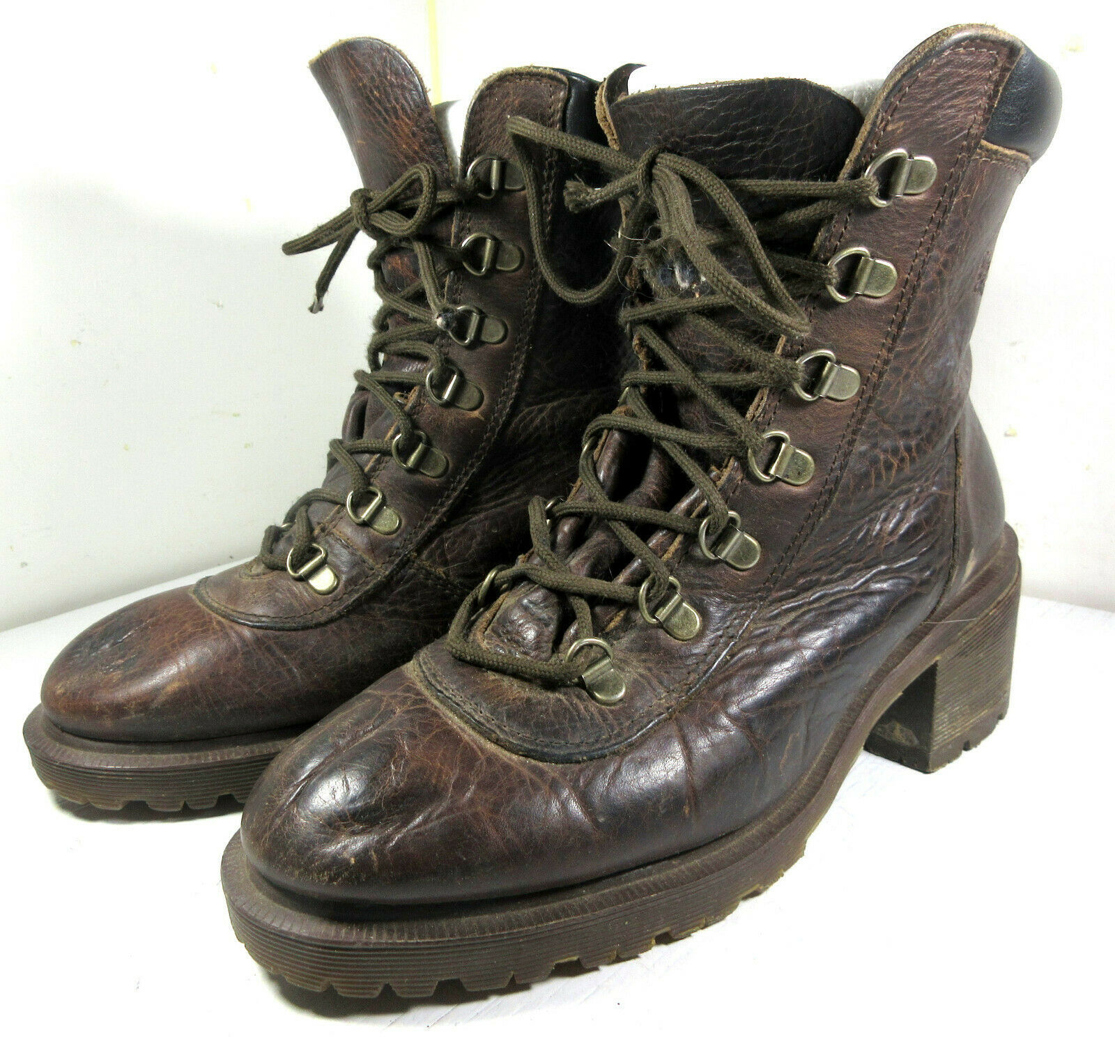 Vintage Dr. Martens Chunky Heel Leather Boots Size 8 US Women's 8147 - $49.45