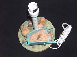 Marjolein Bastin Hallmark Nature Lamp ~ Wheelbarrow, Birds, Rabbit & Chi... - $54.17