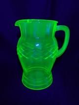 Vintage Green Vaseline Glass Pitcher - $19.99