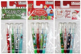 RAYMOND GEDDES 4pc MINI GEL PENS Holiday/Christmas Designs COLORS *YOU C... - $2.69