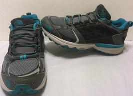 North Face Gore Tex Aqua Blue Gray Running Hiking Shoes Size 7 Trail Wal... - $63.10