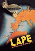 LAPE - Spanish Postal Airlines European Routes - Art Print - $19.99+