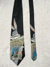 Looney Tunes Bugs Bunny Mens Novelty Neck Tie Necktie Newspaper Stamp Collection - $11.87