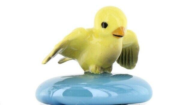 Stepping Stones Fairy Garden Terrarium Miniature Bird Canary Landing Turquoise