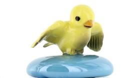 Stepping Stones Fairy Garden Terrarium Miniature Bird Canary Landing Turquoise image 1