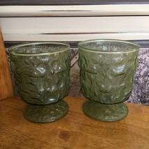 Anchor Hocking Avocado Green Lido Milano Goblet Glasses Footed - $11.88