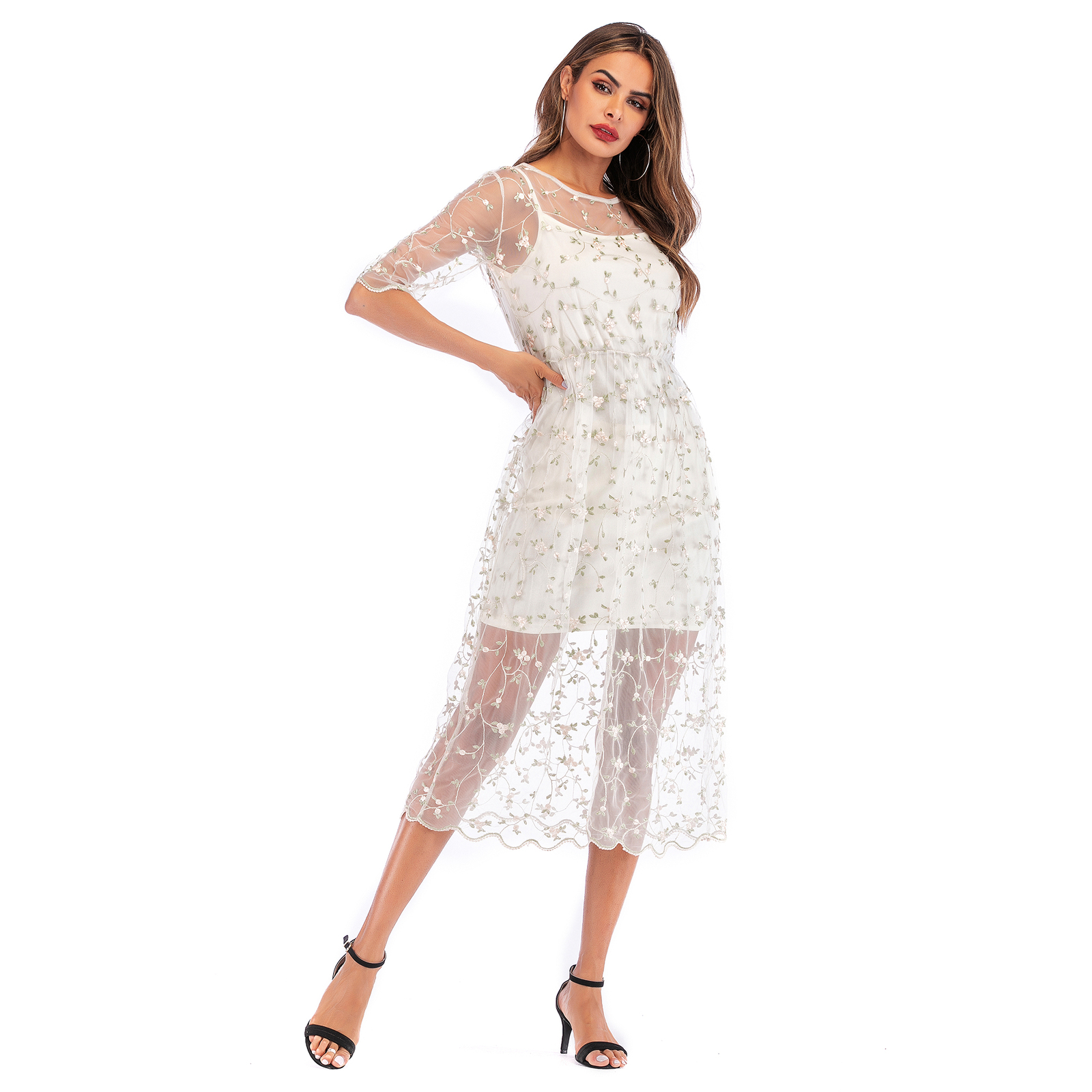 New Women's Dress Fresh Casual Floral Embroidery Two-piece MIDI Dress with Mesh  - $31.20