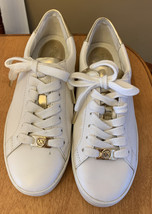USED Michael Kors Irving White and Gold Shoes Sneakers Trainers Womens S... - $39.33