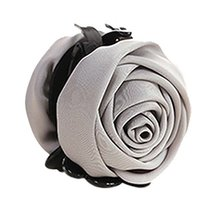 Beautiful Satin Artificial Rose Flower Hair Claw Clips Ponytail Jaw Clips, Grey