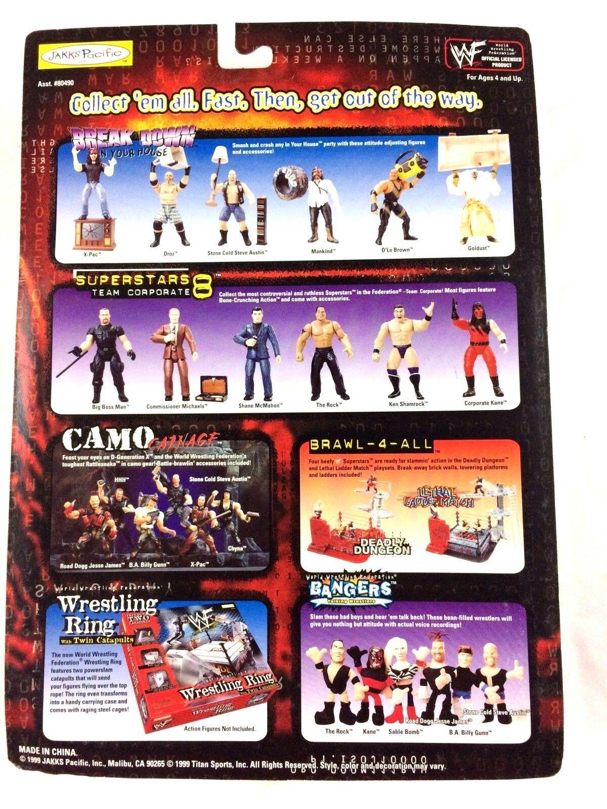 The Rock WWF WWE Jakks Action Figure Raw is War 1999 Trash Can Grapple Gear