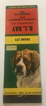 Vintage Matchbook Cover Matchcover Dog Saint Bernard RL Day Frederick MD - $3.33