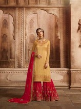 Muslim Eid Yellow Sharara SalwarKameez Heavy Indian Embroidery Party Sui... - $156.09