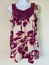 NWT Sonoma Womens Size L Purple Floral Pattern Blouse Sleeveless Crochet... - $17.42